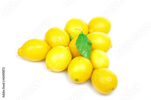 Lemons pyramid with leaf