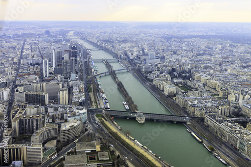 Panorama of river in Paris from Eiffel tower