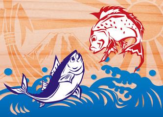 タイとマグロ大漁旗