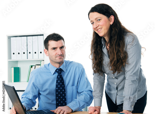 man and woman on workplace
