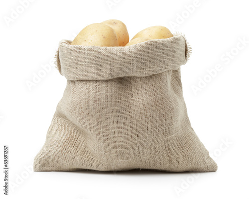 fresh young potato in sack bag