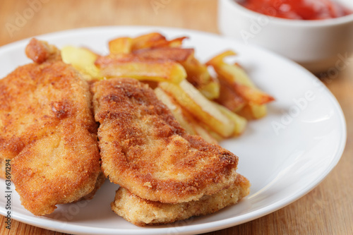 fried chicken nuggets with