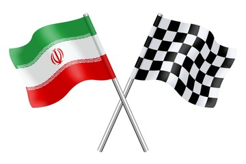 Flags : Iran and checkerboard
