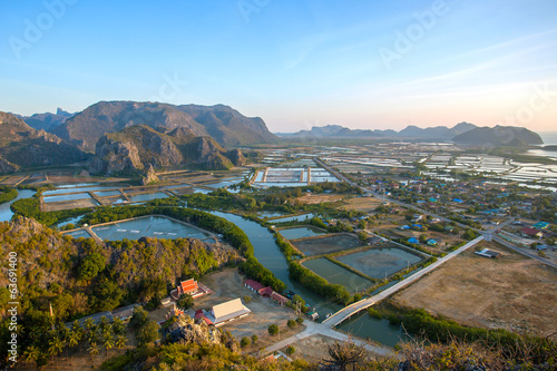 Shrimp farms and limestone mountains in Sam Roi Yot National Par
