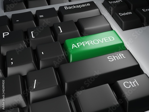 keyboard with approved button
