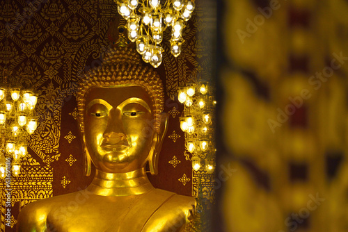 closeup face of buddha statue in temple buddhism