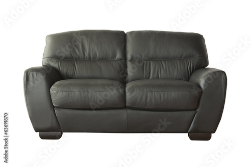 Grey sofa (couch) isolated on white