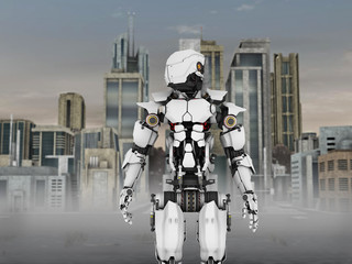 Futuristic robot with city background.