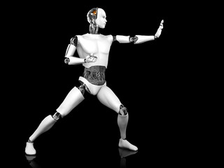 Male robot in fighting karate pose.
