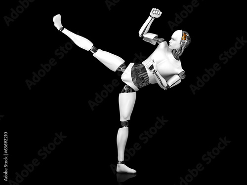 Papiers peints Combat Male robot doing karate kick.