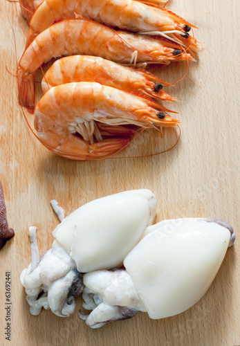 still life of raw seafood