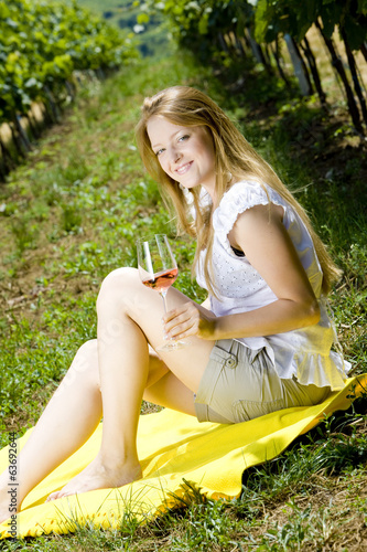 woman at a picnic in vineyard