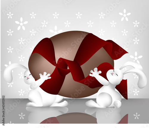 Cartoon art of two rabbits carrying a large easter egg.