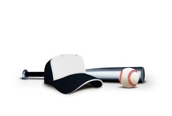 Baseball Cap with Bat and Ball