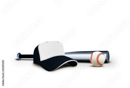Baseball Cap with Bat and Ball