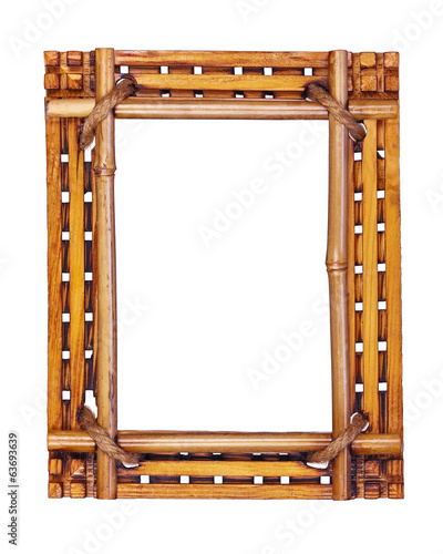 Bamboo frame isolated on white background.