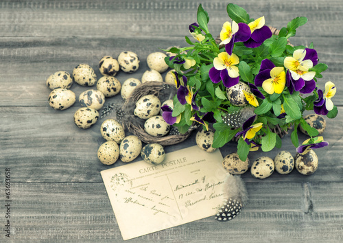 easter decoration with pansy flowers