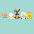 Easter Rabbit Sun Glasses & Friends Easter Card Retro