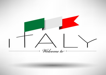 Italy Flag Typography Design