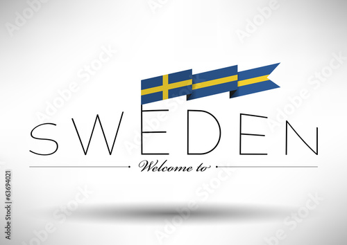 Sweden Flag Typography Design