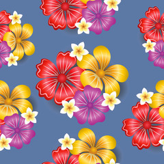 Tropical flowers seamless pattern background