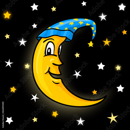 Moon in nightcap with stars