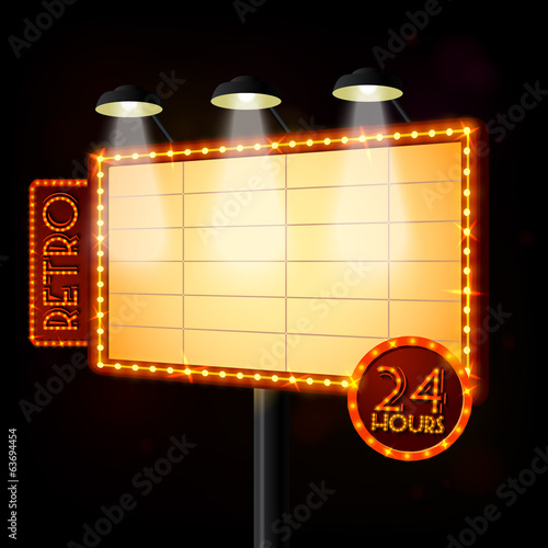 Blank illuminated billboard poster