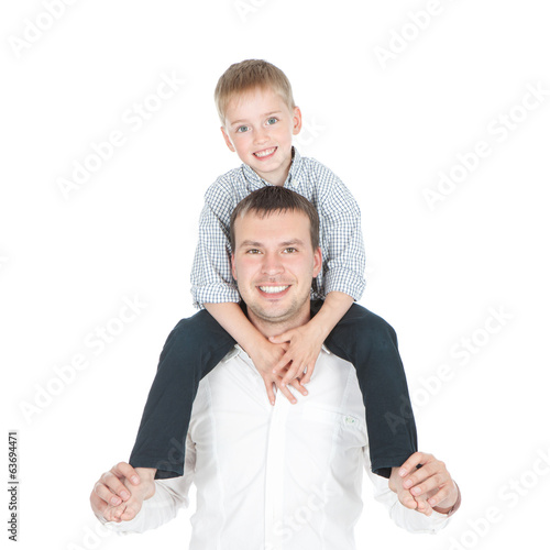 Happy father and little son over white