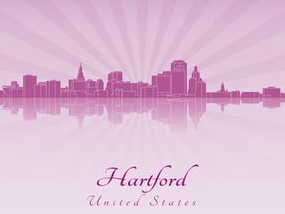 Hartford skyline in purple radiant orchid