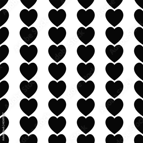 Seamless black hearts icon background ,vector design