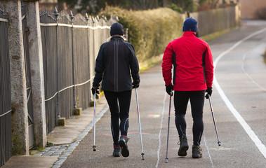 Couple doing Nordic walking in winter