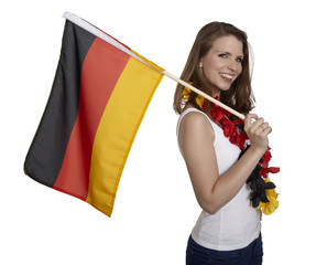 Attractive woman shows german flag and smiles