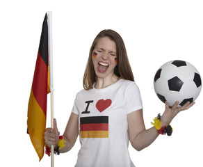 Attractive woman shows german flag and football and screams