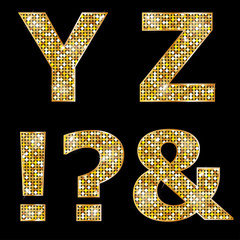 Golden metallic shiny letters Y, Z, !, ?, &