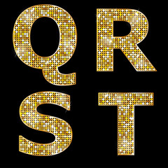 Golden metallic shiny letters Q, R, S, T