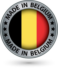 Made in Belgium silver label with flag, vector illustration