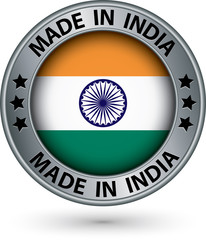 Made in India silver label with flag, vector illustration