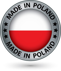 Made in Poland silver label with flag, vector illustration