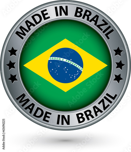 Made in Brazil silver label with flag, vector illustration