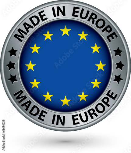 Made in European Union silver label with flag, vector illustrati
