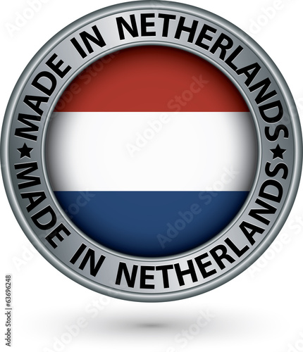 Made in Netherlands silver label with flag, vector illustration