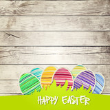 Fototapety Easter eggs on wooden background  vector