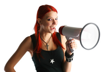 Red hair girl with megaphone