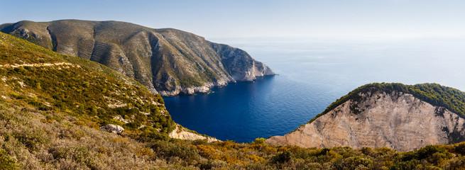 Beautiful Bay Panorama in Zakynthos Island, Greece.