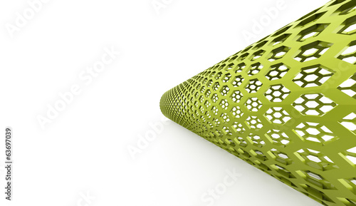 Green hexagonal tube on white