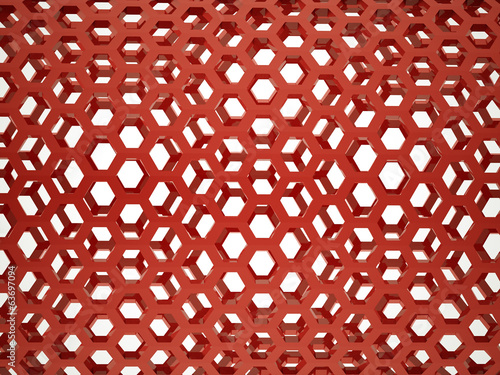 Red hexagonal mesh