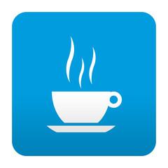 Etiqueta tipo app azul simbolo taza de cafe