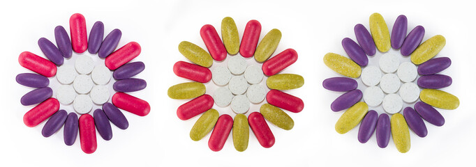 Colorful flower shaped pills