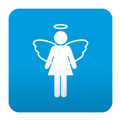 Etiqueta tipo app azul simbolo angel femenino