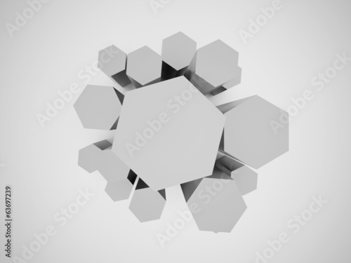 Black and white hexagonal business